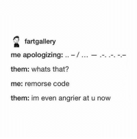 Crush, Ironic, and Got: fartgallery  me apologizing:-/  them: whats that?  me: remorse code  them: im even angrier at u now I just got over my almost 9 year long crush woah