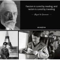 Modern solutions.: Fascism is cured by reading, and  racism is cured by traveling  Miquel de Unamune  AZ QUOTES Modern solutions.