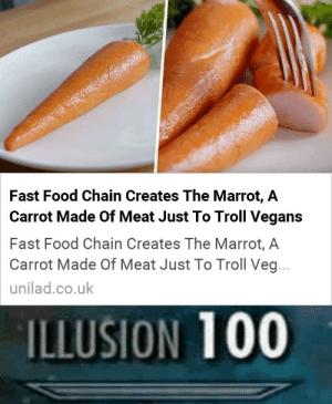 Fast Food, Food, and Troll: Fast Food Chain Creates The Marrot, A  Carrot Made Of Meat Just To Troll Vegans  Fast Food Chain Creates The Marrot, A  Carrot Made Of Meat Just To Troll Veg...  unilad.co.uk  ILLUSION 100 good troll you got there m8
