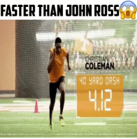 @_coleman2 has beaten John Ross's 40 yard dash record by .10 of a second 😳 - (FOLLOW @dankrushes FOR A CHANCE TO WIN A SHOUTOUT🔥) - doubletap: FASTER THAN JOHN ROSS  CHRISTIANA  COLEMAN  40 YARD DASH @_coleman2 has beaten John Ross's 40 yard dash record by .10 of a second 😳 - (FOLLOW @dankrushes FOR A CHANCE TO WIN A SHOUTOUT🔥) - doubletap