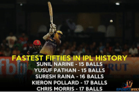 Memes, Premier League, and History: FASTEST FIFTIES IN IPL HISTORY  SUNIL NARINE 15 BALLS  YUSUF PATHAN 15 BALLS  SURESH RAINA 16 BALLS  KIERON POLLARD 17 BALLS  CHRIS MORRIS 17 BALLS  SPORT  2 WIKI Fastest fifties in the history of IPL - Indian Premier League