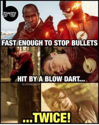Batman, Disappointed, and Gladiator: FASTIENOUGH TO STOP BULLETS  HIT BY A BLOW DART.  IGIBLERD VISION  TWICE! My name is Barry Allen... and I'm as Fast as the Plot Allows Me to Be. 😂 -- I - loved - the first part of the GorillaCity arc on TheFlash last night! I was really curious how they would pull off the CGI and they did not disappoint! Grodd was a badass, the ReverseFlash references were great, and the showdown between Solivar and @grantgust was ripped from the best Gladiator video game mod ever (Cisco wasn't wrong lol). Cannot be more hyped for part 2 next week - what did you guys think? -- 🚨 And be sure to listen to the latest episode of Blerd Vision [LINK IN BIO] for our JohnWick2 Review and Batman news!