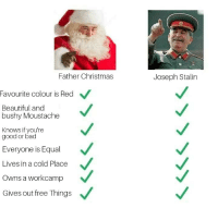 Bad, Beautiful, and Christmas: Father Christmas  Joseph Stalin  Favourite  colour is Red  Beautiful and  bushy Moustache  Knows if you're  good or bad  Everyone is Equal  Lives in a cold Place  Owns a workcamp  Gives out free Things Who do you choose?
