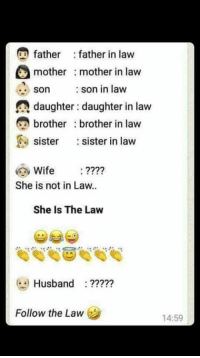 mother in law: father father in law  mother mother in law  son son in law  daughter daughter in law  e brother brother in law  sister  sister in law  Wife  She is not in Law..  She Is The Law  Husband  Follow the Law  14:59