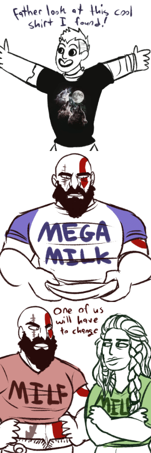 God, Tumblr, and Blog: Father looh at thi col  shirt I found/   MEGA  MILK   One of us  will have  to chsnse  MILP  EL hobgobbin:  god of tacky shirts