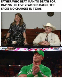 Memes, Death, and Texas: FATHER WHO BEAT MAN TO DEATH FOR  RAPING HIS FIVE YEAR OLD DAUGHTER  FACES NO CHARGES IN TEXAS I believe this happened in Texas! 😬👌🏻 pc: @the_typical_liberal