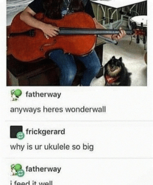 Wonderwall: fatherway  anyways heres wonderwall  frickgerard  why is ur ukulele so big  fatherway