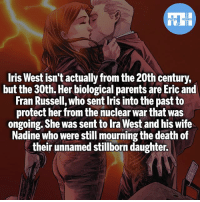 Batman, Memes, and Parents: FATSHERDES  Iris West isn't actually from the 20th century,  but the 30th. Her biological parents are Eric and  Fran Russell, who sent Iris into the past to  protect her from the nuclear war that was  ongoing. She was sent to Ira West and his wife  Nadine who were still mourning the death of  their unnamed stillborn daughter. Iris West-Allen!- My other IG accounts @factsofflash @yourpoketrivia @webslingerfacts ⠀⠀⠀⠀⠀⠀⠀⠀⠀⠀⠀⠀⠀⠀⠀⠀⠀⠀⠀⠀⠀⠀⠀⠀⠀⠀⠀⠀⠀⠀⠀⠀⠀⠀⠀⠀ ⠀⠀--------------------- batmanvssuperman xmen batman superman wonderwoman deadpool spiderman hulk thor ironman marvel bluelantern theflash wolverine daredevil aquaman justiceleague homecoming blackpanther wallywest iriswest redhood avengers zoom cindymoon blackbolt silk like4like injustice2