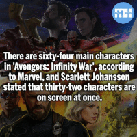 Batman, Memes, and Money: FATSHERDES  There are sixty-four main characters  in 'Avengers:Infinity War, according  to Marvel, and Scarlett Johanssorn  stated that thirty-two characters are  on screen at once.  in Awengers: Infinity War according A lot of character and a lot of money! - My other IG accounts @factsofflash @yourpoketrivia @webslingerfacts ⠀⠀⠀⠀⠀⠀⠀⠀⠀⠀⠀⠀⠀⠀⠀⠀⠀⠀⠀⠀⠀⠀⠀⠀⠀⠀⠀⠀⠀⠀⠀⠀⠀⠀⠀⠀ ⠀⠀--------------------- batmanvssuperman xmen batman superman wonderwoman deadpool spiderman hulk thor ironman marvel greenlantern theflash wolverine daredevil aquaman justiceleague homecoming flashpoint ezramiller wallywest redhood avengers jasontodd blackpanther tomholland infinitywar like4like injustice2