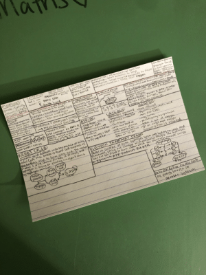 my notecard (so far) for my final tomorrow: FATTY AUDS:  Sat -  unsat: hona can  Cdoude hond  molecules:  AMINO ACD1  energy per 1opg:metabolism-all biochemical reactions  too much ghreose,  giycogen stored  lanabolism-Smal moleales to large  Catabotism-break.cumplex tompannds to Simple fin livert muscles  anaerebiccatabolism-Same u/no oxygein  essential= annot be car=1760 kT  protein= 172OKJ  fat 4000 KJ  glucose-Cut2O  alycerol-CsHg0z  farboxyl-coO  protein: CHON  %3D  made  lipids- Subsntanas  tabdomen  %3D  pveteia sel  glycogenelosis  gincuse then back to blood  break giycogen to INSULIAN MUSCLE  blood glucose abso rbed  Cell respiration-contreed release ofenegy  inthe FormofATP From (mpounds incells  MI TUCHONDRIAN  NSULIN:  povcreosohentoolipolysis-breakdown Itured lipid amuscle for a) bes  much blood glacOse; glucagon-raises blood sugar  lomers biood Sgar;  acceleratesdifim  Fat not tnergy suunmovement=Dchemicalence9 olucos release from  Can't break dnan,  ALAnuiote fat.  nembrene ATP-ehcray currenc (macronut-feul)  Matrix outer  metchdism.b during  adrenatin -alto coUle glycogenolosis everáse. levd of  Sucoscis maantained  anplasmas C OF  AEROBIC:Forms 38 ATP Pergluuse  molecule metabolised, More energy For cell,  needs oxygen.  ANAEROBIC: Forms 2 ATP, esutts  in less encigy fur cell, occurs lo  OX9gen or tow amounts.  SYSTEMS:  mechaical encrgy  Aiver  ATP: eneros bond  +contraction:  ATP Changes to ADP+ P  ATP-PC:  AEROBIC  -mon efficient  LACTIK ACID:  phosphate  caust mgostn neads to-high Power, short anaerobic glycolosis)  shange angle+store  Potential energy for ATe-phosphocreatinc>  -gtuycotorit- głycogen  to giucuse to mase ATP  -glgcolusis w/notacticacid  -More ATP C38)  -Peakat 5sec  break bonds = encrgy  Cuntractio ntrom ATP  phosphate+ cecutine-Short derm  tenergy  KREBS CYCLE:  pyruvic acid diffuses intuthe matrix of mito,  Forms CoA, then Krebs->Acetyl CoA Combines wf  Oxaloaketic acd tu furm Citric acid. The recctions  produce 2 ATP, Carbon dio xide is fovmed, and  hgdrogen is tuken to electron transport chain  g huydrogtr Carriert.  Carbon  doxide  -tongterm-  - no fatiguing by-products  take a lot of orygenA  then energy + ADP -lactie acid build up  then energy+ ADP smal amunnt of energs  , ATP  eromglgcogein be  anaerebie cunditions -go on until mak oxGen  -peax at 1S sec  (onsumptiunis reached  ELECTRON TRANSPORT CHAIN:  Occarin Cristae of mitu. hydrogen Spliti into hydrogeenions and  electrons, which are Charged with potential energy. the hydrogen  ions are oxidised to form vater while the clectreas proudierergy  tu regenerete ATP. Prodrce 34 ATP.  Acctyl  COA  acid  (hydrogen  2 ATP  →(  hyorgeh  acid  84 ATP  water  Beta Oxidatin to use fats  as energy Souree in  Derobis System my notecard (so far) for my final tomorrow