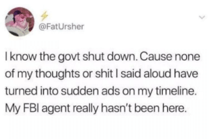 Dank, Memes, and Shit: @FatUrsher  Iknow the govt shut down. Cause none  of my thoughts or shit l said aloud have  turned into sudden ads on my timeline.  My FBl agent really hasn't been here. They really haven't been there by nvalenti27 MORE MEMES