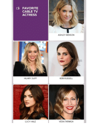 FAVORITE  CABLE TV  ACTRESS  HILARY DUFF  LUCY HALE  ASHLEY BENSON  KERI RUSSELL  VERA FARMIGA Vote for @hilaryduff as your Favourite Cable TV Actress for the PCAs 2017 😍😍😍 YoungerTV younger