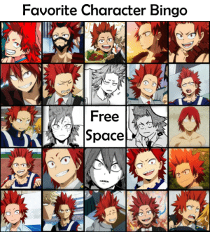 Omg, Tumblr, and Blog: Favorite Character Bingo  Free  Space bakushims:  it was so hard to pick 24 favourite characters omg