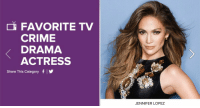 FAVORITE TV  CRIME  DRAMA  ACTRESS  Share This category f  JENNIFER LOPEZ I just voted for @JLo as my favorite TV Crime Drama Actress! JLoPCA2017