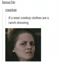 Bad, Clothes, and Cowboy: favourlte  rneerkat  if u wear cowboy clothes are u  ranch dressing This is bad https://t.co/yrMDumPKZt