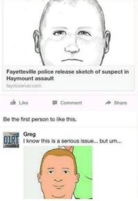 Memes, Police, and Humans of Tumblr: Fayetteville police release sketch of suspect in  Hay mount assault  fayobserver.com  Like  Comment  Share  Be the first person to like this  Greg  DIR  I know this is a serious issue... but um - Gaming Memes