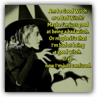 Smart Assy: fb  Amia Good Witch  ora Bad Witch?  be just good  at being abad witch  or maybe its that  I'm badat being  a good witch  Crap  just confused.  now I'm Smart Assy