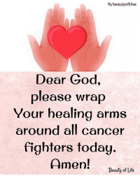 Fighters: fb/beautyoflifee  Dear God,  please wrap  Your healing arms  around all cancer  fighters today.  Amen!  Beauty of Life