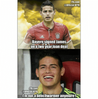 James Rodriguez be like...: Fb.com  @Official.KITB  Bayern signed James  onatwo year loan dea  Fb.com  @Official.KITB  mnotabenchwarmer anymore! James Rodriguez be like...