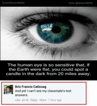 human eyes: fb.com/SarcasmMother  twitter: @SarcasmMother  The human eye is so sensitive that, if  the Earth were flat, you could spot a  candle in the dark from 20 miles away.  Brix Francis Catinsag  And yet I can't see my classmate's test  answers.  Like K 28 Reply More 1 hour ago