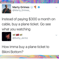 Dank, Memes, and Bikini Bottom: FB@DANK MEMEOLOGY  Marty Grimeso  @Marty_Grimes_  Instead of paying $300 a month on  cable, buy a plane ticket. Go see  what you watching  @Dutty_Jermz  How imma buy a plane ticket to  Bikini Bottom? Smitty Werbenjagermanjensen