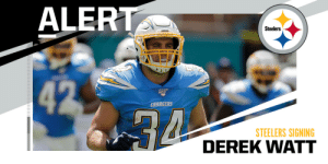 FB Derek Watt signing with the Steelers. (via @RapSheet) https://t.co/4Et1M8Gouw: FB Derek Watt signing with the Steelers. (via @RapSheet) https://t.co/4Et1M8Gouw