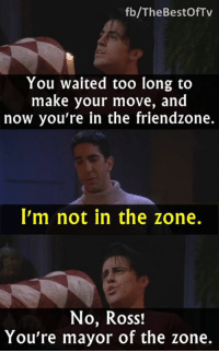 Friends (TV Show), Friendzone, and Memes: fb/The Bestof Tv  You waited too long to  make your move, and  now you're in the friendzone.  I'm not in the zone.  No, Ross!  You're mayor of the zone. - FRIENDS (TV Show)  Via The Best of TV