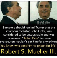 """Infamous: FBI NEW YORK  11-90 36992  Someone should remind Trump that the  infamous mobster, John Gotti, was  considered to be untouchable and was  nicknamed """"Teflon Don"""" because  prosecutors couldn't get him for any crimes  You know who sent him to prison for life?  Robert S. Mueller III."""