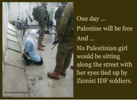 Memes, Soldiers, and Streets: FBIYesPalestineWillBeFr  One day  Palestine will be free  And  No Palestinian girl  would be sitting  along the street with  her eyes tied up by  Zionist IDF soldiers. Palestine will be free