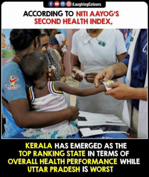 kerala: fD  /LaughingColours  ACCORDING TO NITI AAYOG'S  SECOND HEALTH INDEX,  LAUOHING  KERALA HAS EMERGED AS THE  TOP RANKING STATE IN TERMS OF  OVERALL HEALTH PERFORMANCE WHILE  UTTAR PRADESH IS WORST