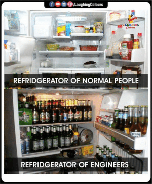 Indianpeoplefacebook, Corona, and Normal: fD  /LaughingColours  Domin  LAUGHING  Colers  REFRIDGERATOR OF NORMAL PEOPLE  Helnek  Corona  REFRIDGERATOR OF ENGINEERS  to