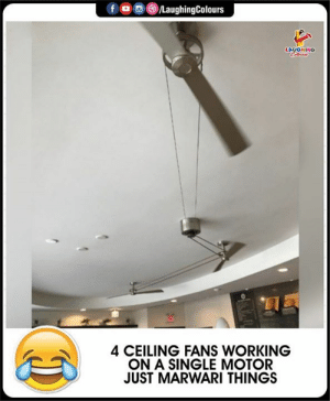 Motor: fD  /LaughingColours  LAUGHING  Celeun  4 CEILING FANS WORKING  ON A SINGLE MOTOR  JUST MARWARI THINGS