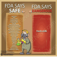 Baby, It's Cold Outside, Drugs, and Fresh: FDA SAYS FDA SAYS  SAFE  DANGEROUS  aspartame  MSG  artificial colors  artificial flavors  propylene glycol  fluoride  SSRI antidepressants  anti-psychotic drugs for soldiers  psychotropic drugsfor kids  mercury in vaccines  chemotherapy for babies  fresh milk  autolyzed proteins  chemical preservatives  D  sodium cow pus in milk  pesticides  herbicides  fungicides A  radiation  S  GMOs  chlorine  arsenic  aluminum  mercury in fish  bisphenol A (BPA)  See more infographics like this at  w.NaturalNews.com/infographics  NaturalNews  Naturat Heath, NaturalLivns NaturalNews