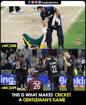 #KaneWilliamson #CWC #Cricket: fDC  LaughingColours  GTEALAND  #WC2015  LAUGHING  Cileus  WILLIMSON  22  ing  B oki  C BRATHWAITE  26  #WC2019  THIS IS WHAT MAKES CRICKET  A GENTLEMAN'S GAME #KaneWilliamson #CWC #Cricket