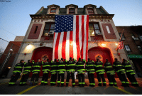 Memes, Twitter, and American: FDNY/Twitter  ED.N  ED.NL  RUSSO FDNY members displayed the American flag at Engine 289 and Ladder 138 in Queens in honor of Veterans Day.