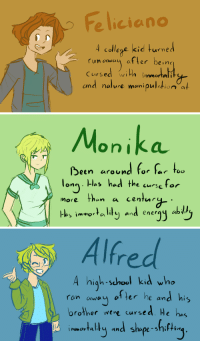 ask-the-aph-cursed-trio:  The bois: Fe liciono  4 college kid turned  run away after bein  Cursed w  th immorta  and nature manipultion a   Monika  ßeen around .. Γ.tw  long. Has hed the curse for  more than a centu  las immota lit and ener  e cursetor   Alfred  A high-school kid who  ron awey of ter he and his  orother wert cursed He hs  awau  shape-snit+iun ask-the-aph-cursed-trio:  The bois