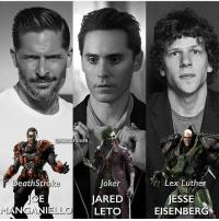 Batman, Joker, and Memes: @FEAROFIOKER  Lex Luther  JESSE  eathStroka  Joker  JARED  LETO EISENBER Who's your favourite? @fearofjoker dc dccomics dceu dcu dcrebirth dcnation dcextendeduniverse batman superman manofsteel thedarkknight wonderwoman justiceleague cyborg aquaman martianmanhunter greenlantern theflash greenarrow suicidesquad thejoker harleyquinn comics injusticegodsamongus
