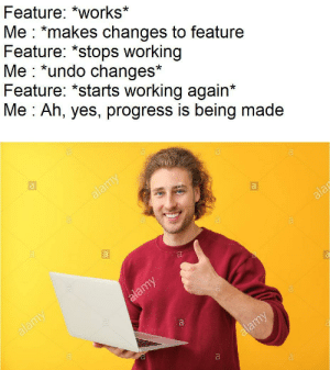 Enough work done for today: Feature: *works*  Me *makes changes to feature  Feature: *stops working  Me *undo changes*  Feature: *starts working again*  Me Ah, yes, progress is being made  alamy  alar  a  alamy  alamy  alamy  a Enough work done for today