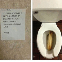 Fucking, Memes, and Break: Featured @will ent  IFI CATCH WHOEVER IS  PUTTING LOAVES OF  BREAD IN THE TOILET  WERE GOING TO  BREAK YOUR FUCKING  ARMS  VINCE 😂😂😂lol