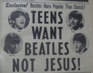 Church, Jesus, and Target: FEATURES OF UNUSUAL INTEREST  Exclusive! Beatles More Popular Than Church?  TEENS  WANT  BEATLES  NOT JESUS  John  Ringo  Paul  George sleeepinglover:via weheartit