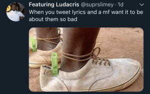 If the shoe fits, wear it (via /r/BlackPeopleTwitter): Featuring Ludacris @suprslimey 1d  When you tweet lyrics and a mf want it to be  about them so bad If the shoe fits, wear it (via /r/BlackPeopleTwitter)