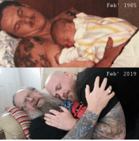 Dad, Moment, and Tender: Feb 1985  Feb' 2019 My dad and I recreated a tender moment 34 years later