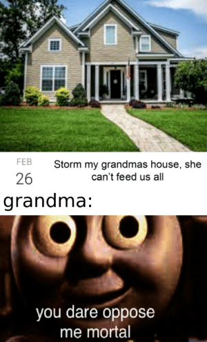 Who's helping me beat the boss lvl?: FEB  Storm my grandmas house, she  26  can't feed us all  grandma:  you dare oppose  me mortal Who's helping me beat the boss lvl?