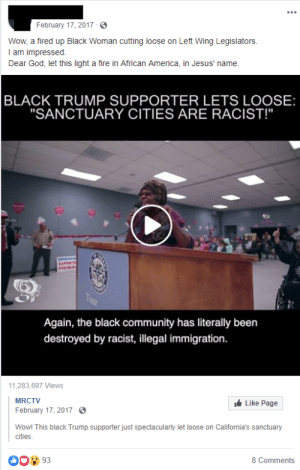 """African America. That's a new one.: February 17, 2017  Wow, a fired up Black Woman cutting loose on Left Wing Legislators.  I am impressed  Dear God, let this light a fire in African America, in Jesus' name.  BLACK TRUMP SUPPORTER LETS LOOSE:  """"SANCTUARY CITIES ARE RACIST!""""  EATT  STELE  Your  Again, the black community has literally been  destroyed by racist, illegal immigration.  11,283,697 Views  Like Page  MRCTV  February 17, 2017  Wow! This black Trump supporter just spectacularly let loose on California's sanctuary  cities  8 Comments  93 African America. That's a new one."""