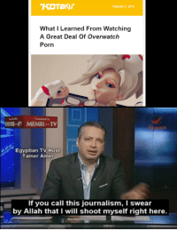 Porn, Egyptian, and Overwatch: February 2, 2019  What I Learned From Watching  A Great Deal Of Overwatch  Porn  -I MEMRI TV  Egyptian TV Host  Tamer Amin  If you call this journalism, I swear  by Allah that I will shoot myself right here. I swear ill do it