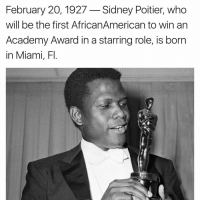 Academy Awards, Memes, and Academy: February 20, 1927 Sidney Poitier, who  will be the first AfricanAmerican to win an  Academy Award in a starring role, is born  in Miami, Fl