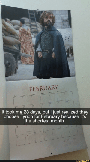Funny, 28 Days, and Sun: FEBRUARY  FRI  SAT  WED  THU  TUE  MON  SUN  10  6  It took me 28 days, but I just realized they  choose Tyrion for February because it's  the shortest month  18  RISIDENTS  28  27  26  25  funny.ce This slight won't be forgotten. And Lannisters always pay their debts. (i.redd.it)