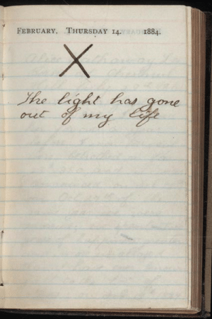 yikes:   Teddy Roosevelt's diary entry from the day his wife died. He never spoke of her death again.  i reblog this every time its on my dash : FEBRUARY, THURSDAY 14.1884 yikes:   Teddy Roosevelt's diary entry from the day his wife died. He never spoke of her death again.  i reblog this every time its on my dash