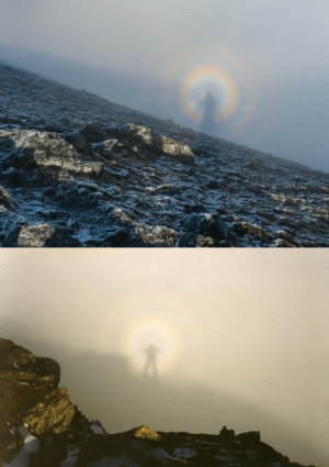 fectusing: Examples of a Brocken Spectre, a phenomenon where a person's giant shadow appears magnified onto clouds miles away. The shadow from the sun behind the person creates a halo, giving it an angelic appearance. This mostly occurs on any misty mountainsides or cloud banks, and can even be seen from aeroplanes.: fectusing: Examples of a Brocken Spectre, a phenomenon where a person's giant shadow appears magnified onto clouds miles away. The shadow from the sun behind the person creates a halo, giving it an angelic appearance. This mostly occurs on any misty mountainsides or cloud banks, and can even be seen from aeroplanes.