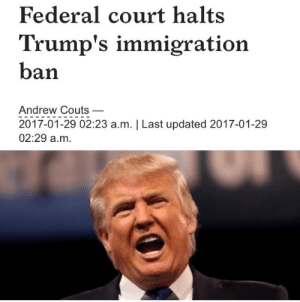 Donald Trump, Muslim, and Nationwide: Federal court halts  Trump's immigration  ban  Andrew Couts_  2017-01-29 02:23 a.m. | Last updated 2017-01-29  02:29 a.m. reverseracism: A federal judge on Saturday night put an emergency hold on President Donald Trump's executive order banning travel for tens of millions of people from seven Muslim-majority countries.    The emergency stay on Trump's controversial executive order comes as a result of a lawsuit filed by the American Civil Liberties Union (ACLU) in the United States District Court for the Eastern District of New York.   Issued by Judge Ann M. Donnelly, the stay follows a day of heated debate and growing unrest across the U.S. over the Trump administration's attempts to bar refugees, immigrants, and permanent residents from seven countries—Iran, Iraq, Libya, Somalia, Sudan, Syria, and Yemen—under the auspices of protecting Americans against terrorism.    The stay puts a temporary hold on the executive order nationwide, likely allowing travelers stranded at airports in the U.S. and around the world to enter the U.S. and to halt deportations of those affected by the travel ban. It does not defeat the executive order entirely.   Thousands of protesters turned out to Brooklyn's Camden Plaza to await the judge's ruling.  *Thank You Judge Donnelly.*